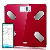SENSSUN Körperfettwaage Bluetooth Personenwaage Smart Digitale Körperwaage für Körperfett BMI Gewicht Muskelmasse Wasser Protein Skelettmuskel Knochengewicht BMR(Rot)